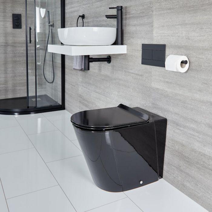 Sanitario Bagno WC Ovale con Sedile Soft Close - Nero  - Nox