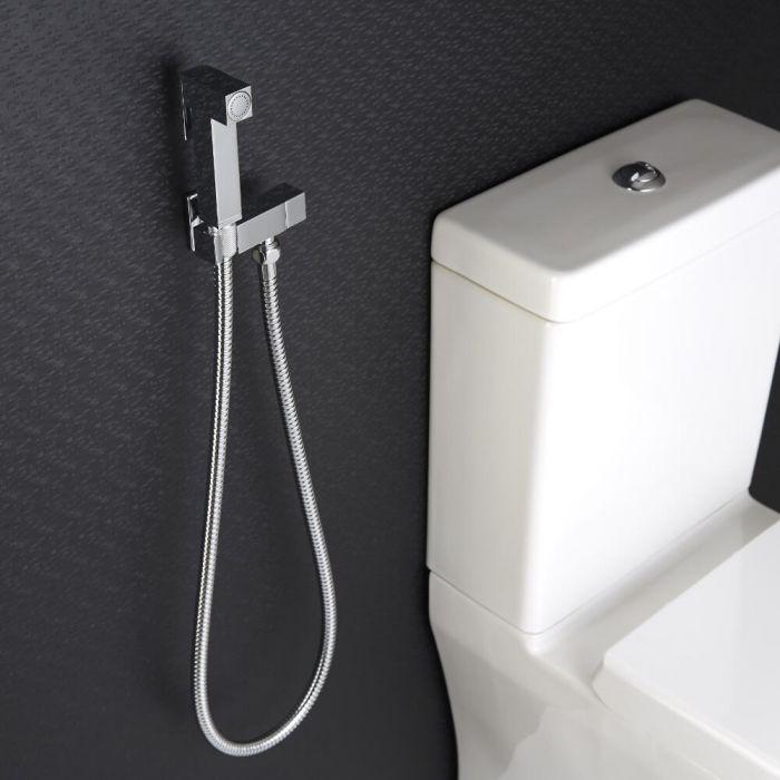 Kit Doccia Igienica per Sanitario con Doccetta, Clip Murale di Supporto e Flessibile