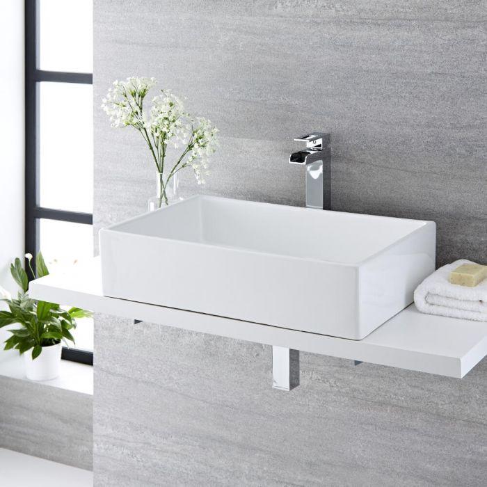 Lavabo Bagno da Appoggio Quadrato in Ceramica 600x390mm - Haldon