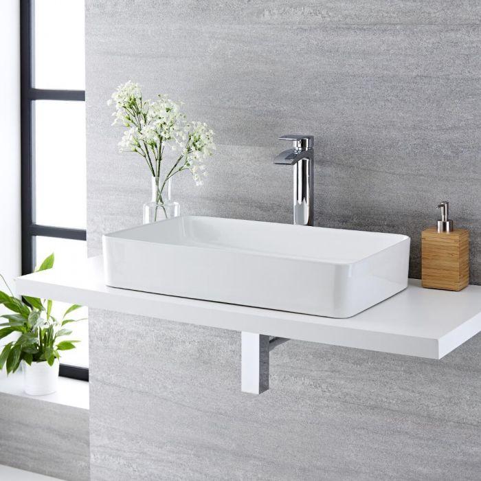 Lavabo Bagno da Appoggio Rettangolare in Ceramica 600x340mm - Alswear