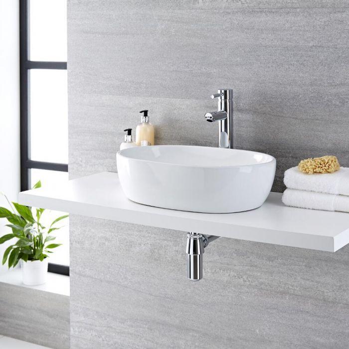 Lavabo Bagno da Appoggio in ceramica Ovale 480x350mm con Rubinetto Miscelatore Alto - Otterton