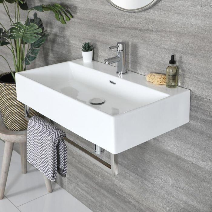 Lavabo Sospeso Bianco Rettangolare con Porta Salviette Cromato 750mm x 420mm - Sandford