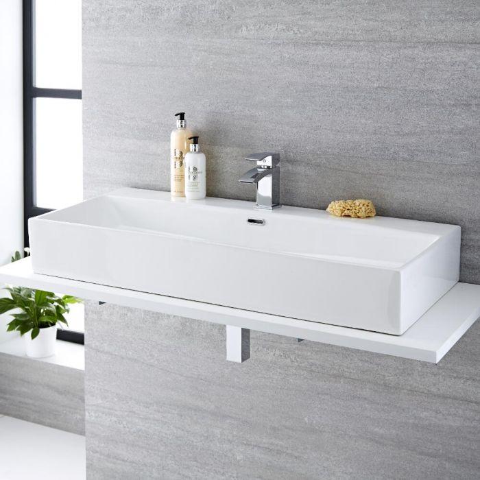 Lavabo Bagno da Appoggio Rettangolare in Ceramica 1000x420mm - Sandford