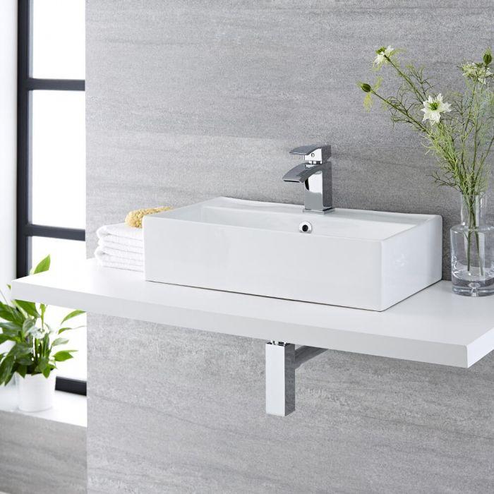 Lavabo Bagno da Appoggio Rettangolare in Ceramica 550x310mm - Halwell
