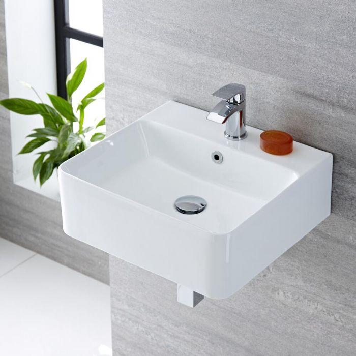 Lavabo Bagno Sospeso in Ceramica Rettangolare 460x420mm - Exton