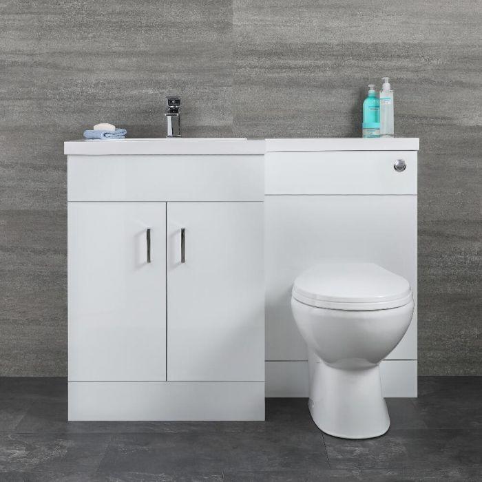 Mobile Lavabo Bianco a Pavimento Completo di Mobile WC Versione a Sinsitra - Geo