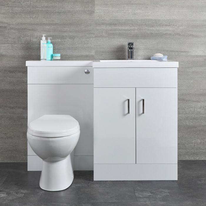 Mobile Lavabo Bianco a Pavimento Completo di Mobile WC Versione a Destra - Geo