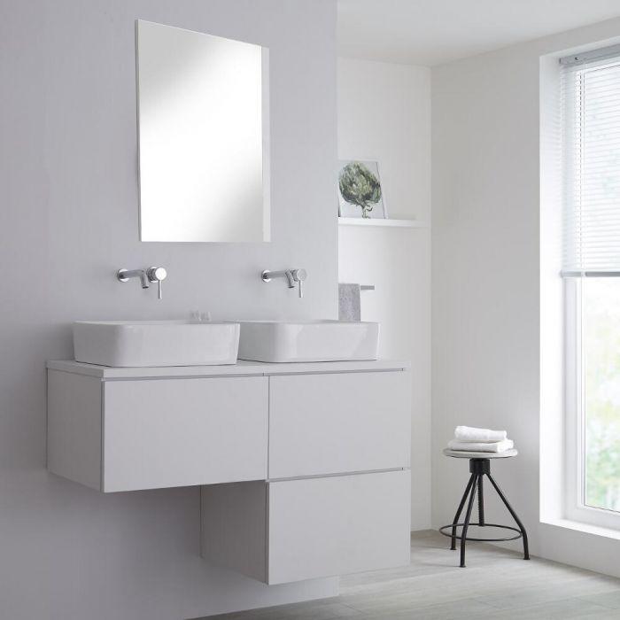Mobile Base Sottolavabo Colore Bianco Opaco Sospeso 1200mm per Lavabo da Appoggio a Forma L con Opzione LED con Lavabi Rettangolari – Newington