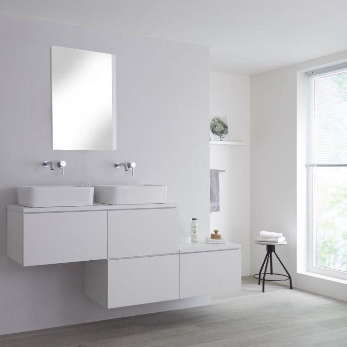 Mobile Base Sottolavabo Colore Bianco Opaco Sospeso 1800mm per Lavabo da Appoggio con Design Ortogonale con Opzione LED con 2 Lavabi Rettangolari – Newington