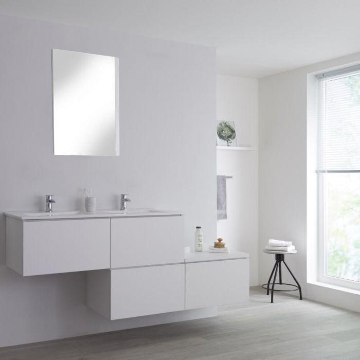 Mobile Base Sottolavabo Sospeso Colore Bianco Opaco con Design Ortogonale 1800mm con Top di Colore Bianco e Lavabo da Appoggio con Opzione LED - Newington