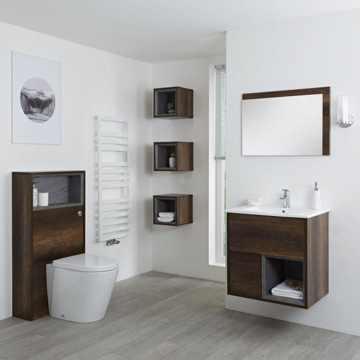 Set Bagno Colore Rovere Scuro Completo di Mobile Lavabo 800mm, Mobile WC, Mobile Murale, Specchio, Lavabo, Sanitario e Cassetta - Hoxton