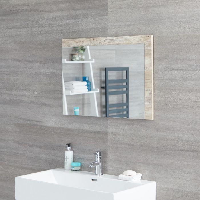 Specchio Bagno Murale 500x700mm Colore Rovere Chiaro con Design Aperto - Hoxton