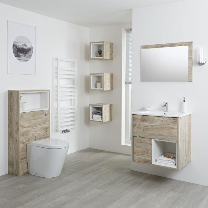 Set Bagno Completo di Mobile Lavabo 600mm e Mobile WC Colore Rovere Chiaro con Design Completo di Lavabo e Sanitario - Hoxton