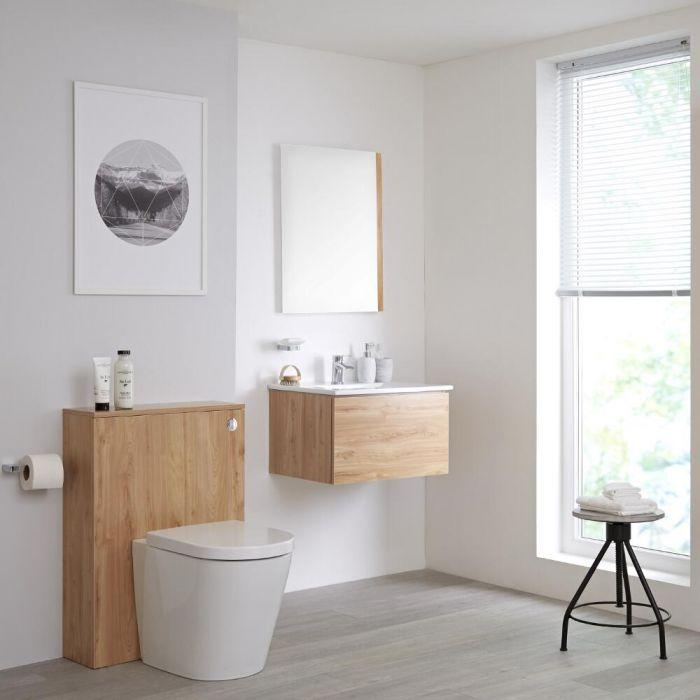 Mobile Bagno Colore Bianco Opaco 600mm Completo di Sanitario, Lavabo, Cassetta, Colonna Bagno Murale e Specchio Disponibile con Opzione LED - Newington