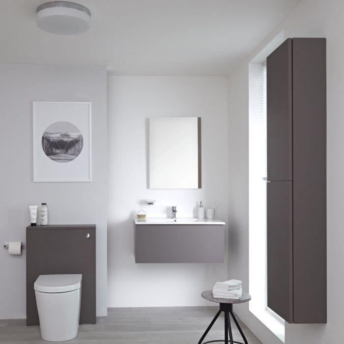 Mobile Bagno 800mm Colore Grigio Opaco Completo di Cassetta , Sanitario, Lavabo, Colonna Bagno Murale e Specchio Disponibile con Opzione LED - Newington