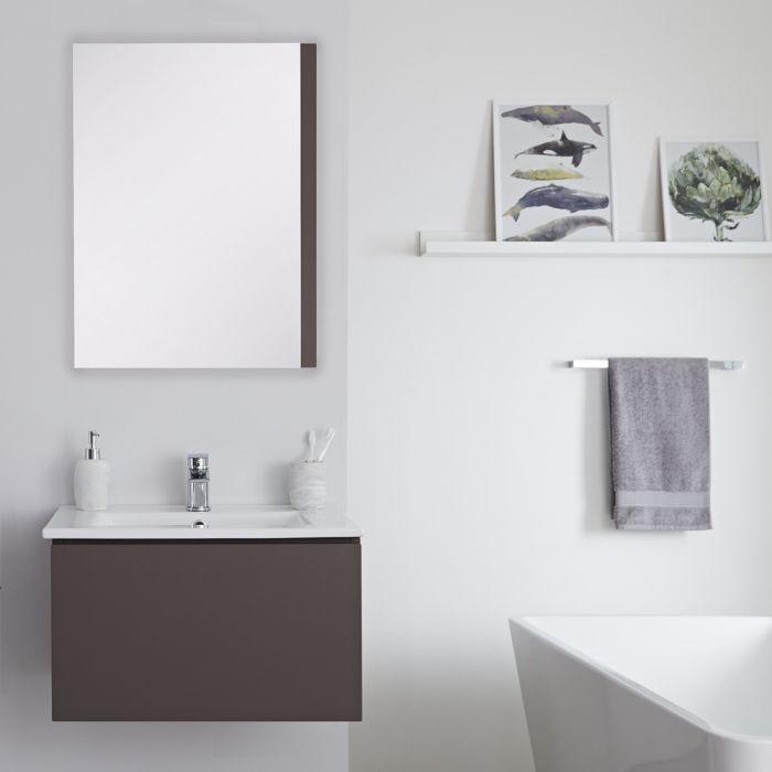 Mobile Bagno Murale 600mm con Lavabo Integrato Colore Grigio Opaco Disponibile con Opzione LED - Newington