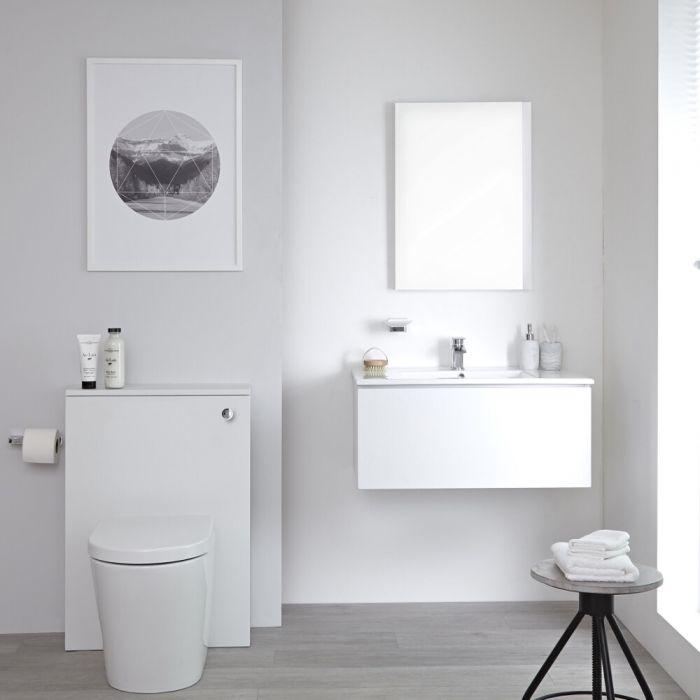 Mobile WC 800mm Colore Bianco Opaco per Stanza da Bagno Completo di Sanitario Sospeso, Cassetta e Lavabo - Newington