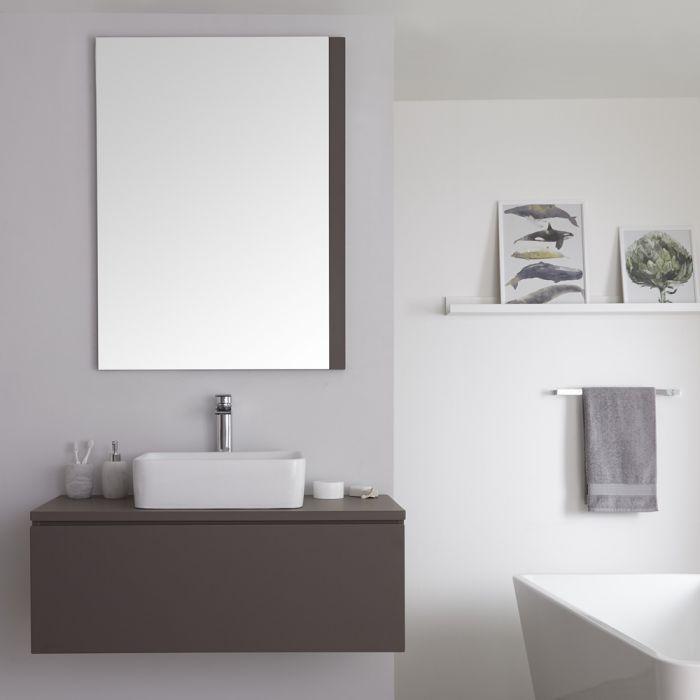 Mobile Bagno Murale 1000mm Colore Grigio Opaco con Lavabo da Appoggio Disponibile con Opzione LED- Newington