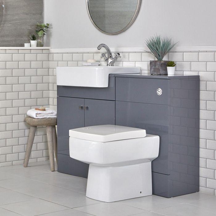 Set Bagno Moderno da Terra Colore Grigio 1170mm con Mobile WC, Sanitario, Cassetta e Lavabo - Atticus