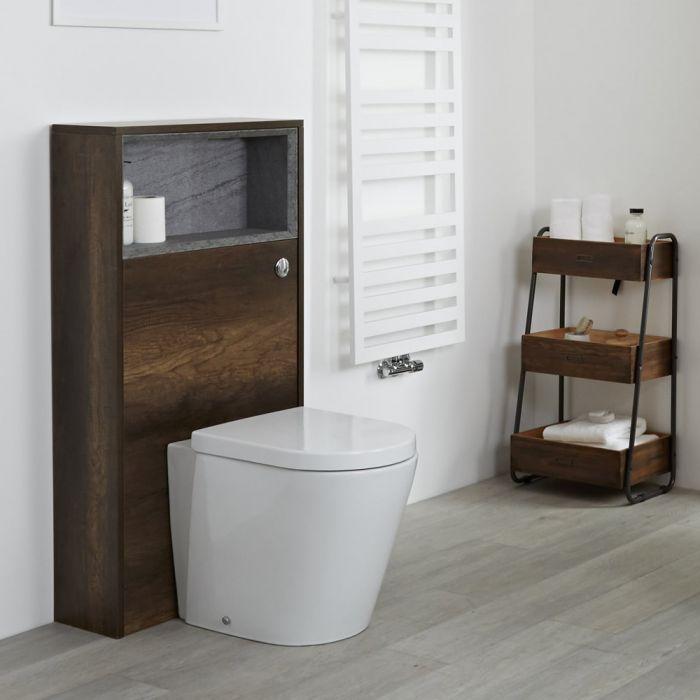 Mobile WC per Stanza da Bagno 600mm Colore Rovere Scuro Design Aperto - Hoxton