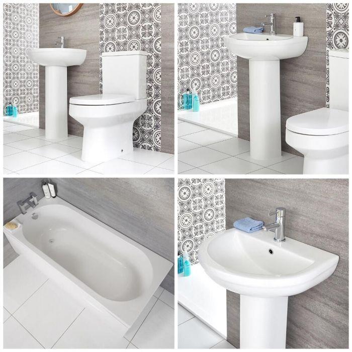 Set Bagno Moderno Completo di Vasca, Lavabo con Colonna e Sanitario Filo Parete – Covelly