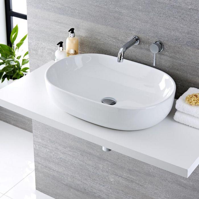 Lavabo Bagno da Appoggio Ovale 590x425mm in Ceramica con Rubinetto Miscelatore per Lavabo-  Otterton