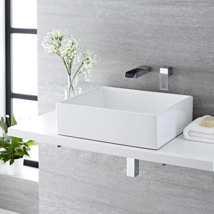 Lavabo Bagno da Appoggio Ovale 480x350mm in Ceramica Completo con Rubinetto Miscelatore – Otterton