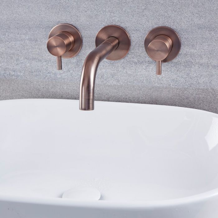 Rubinetto Miscelatore Moderno a Parete per Lavabo – Bronzo Lucidato ad Olio – Como