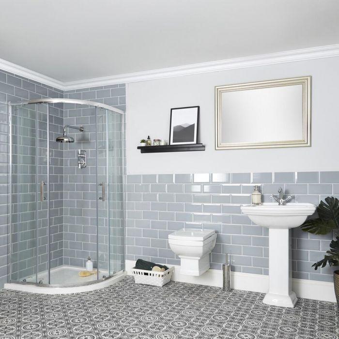 Set Bagno Tradizionale Completo di Bo x Doccia Angolare, Sanitario WC Sospeso e Lavabo su Colonna - Chester