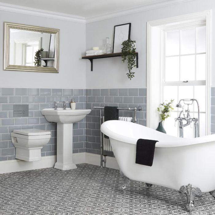 Set Bagno Tradizionale Completo di Vasca Freestanding, Sanitario WC Sospeso, Lavabo su Colonna e Bidet Sospeso - Chester