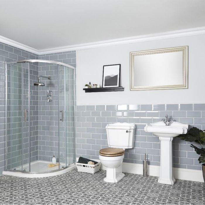 Set Bagno Tradizionale Completo di Bo x Doccia Angolare, Sanitario WC e Lavabo su Colonna - Oxford