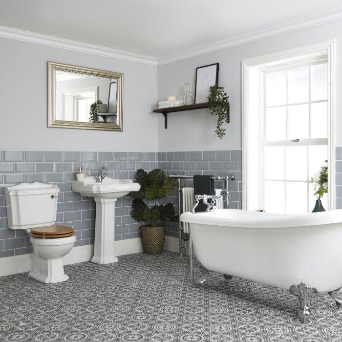 Set Bagno Tradizionale Completo di Vasca Freestanding, Sanitario WC Monoblocco e Lavabo su Colonna - Oxford