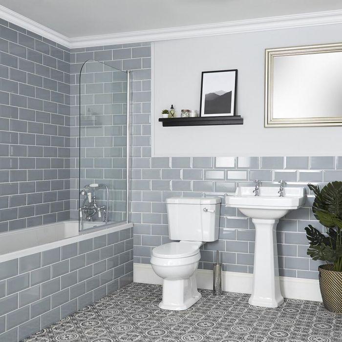 Set Bagno Tradizionale Completo di Vasca da Bagno, Sanitario WC e Lavabo su Colonna - Richmond