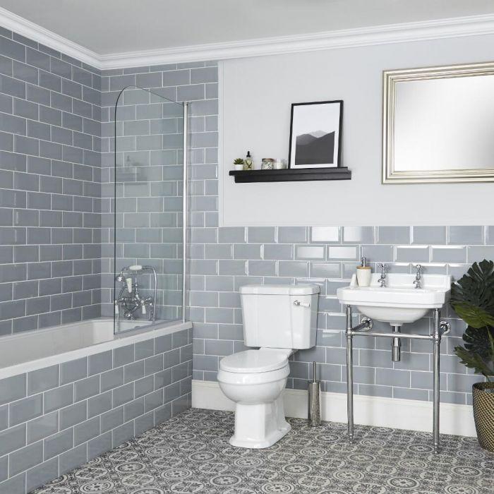 Set Bagno Tradizionale Completo di Vasca da Bagno, Sanitario WC e Lavabo con Consolle - Richmond