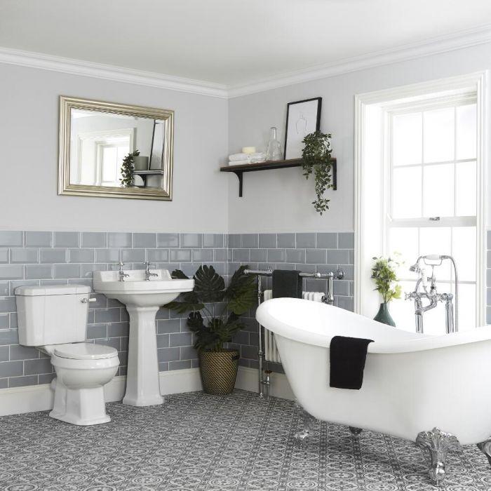 Set Bagno Tradizionale Completo di Vasca Freestanding, Sanitario WC e Lavabo su Colonna - Richmond