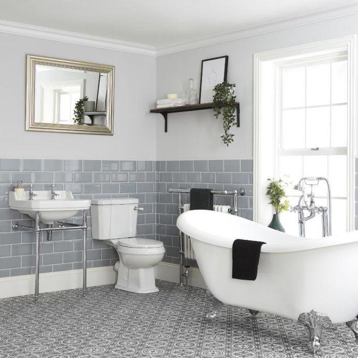 Set Bagno Tradizionale Completo di Vasca Freestanding, Sanitario WC e Lavabo con Consolle - Richmond