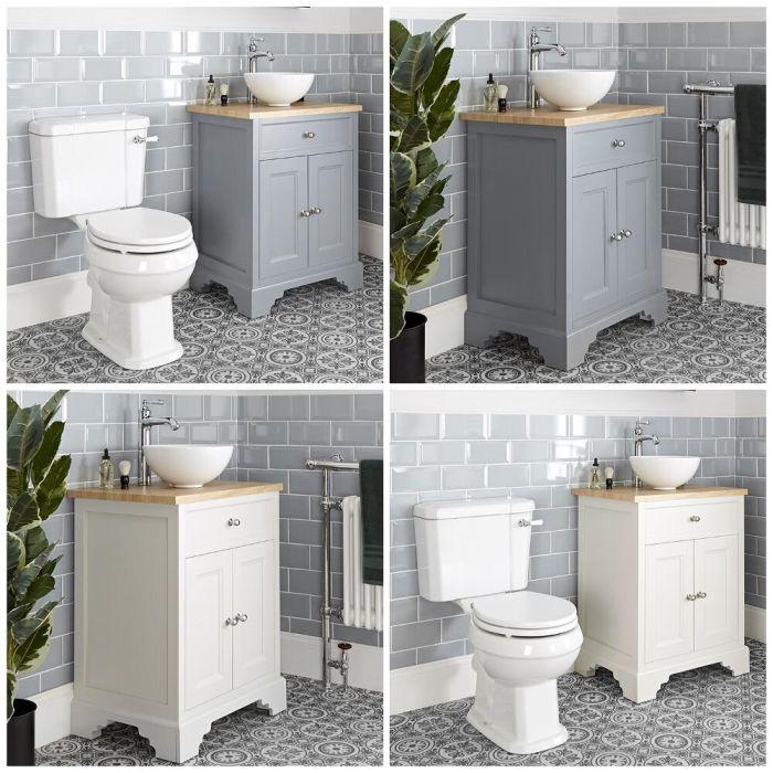Mobile Tradizionale con Lavabo da Appoggio e Sanitario WC a Scarico Orizzontale – 645mm - Thornton