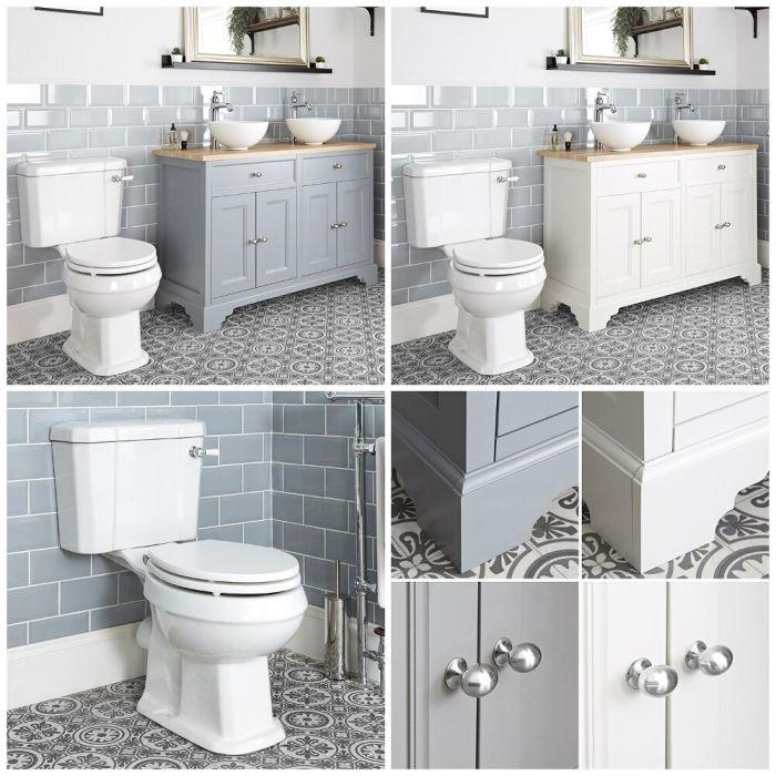 Mobile Tradizionale con Lavabo da Appoggio e Sanitario WC a Scarico Orizzontale – 1200mm - Thornton