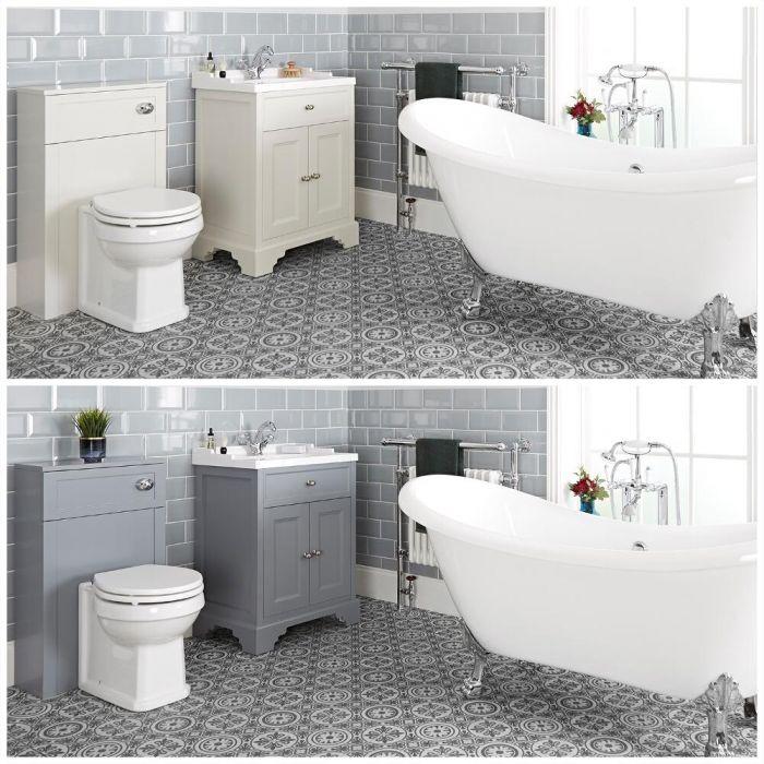 Set bagno Tradizionale con Vasca Freestanding, Mobile da 630mm e Sanitario WC - Thornton