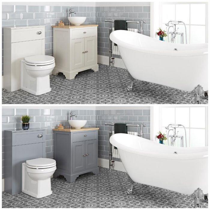 Set bagno Tradizionale con Vasca Freestanding, Mobile da 645mm con Lavabo da Appoggio e Sanitario WC - Thornton