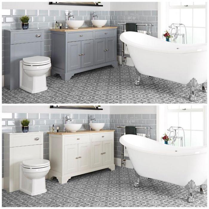Set bagno Tradizionale con Vasca Freestanding, Mobile da 1200mm con Lavabo da Appoggio e Sanitario WC - Thornton