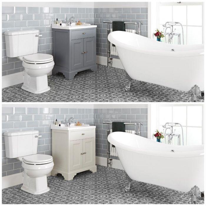 Set bagno Tradizionale con Vasca Freestanding, Mobile da 630mm con Lavabo  e Sanitario WC a Scarico Orizzontale - Thornton