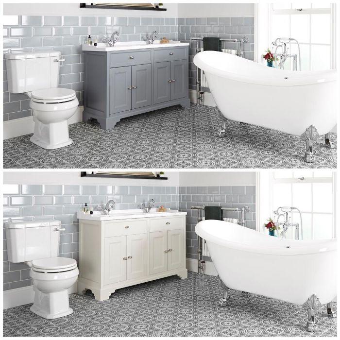 Set bagno Tradizionale con Vasca Freestanding, Mobile da 1200mm con Lavabo e Sanitario WC a Scarico Orizzontale - Thornton