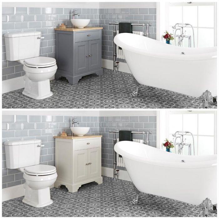 Set bagno Tradizionale con Vasca Freestanding, Mobile da 645mm con Lavabo da Appoggio e Sanitario WC a Scarico Orizzontale - Thornton