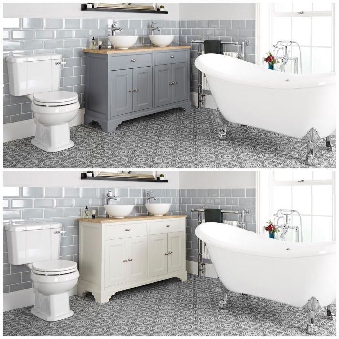Set bagno Tradizionale con Vasca Freestanding, Mobile da 1200mm con Lavabo da Appoggio e Sanitario WC a Scarico Orizzontale - Thornton