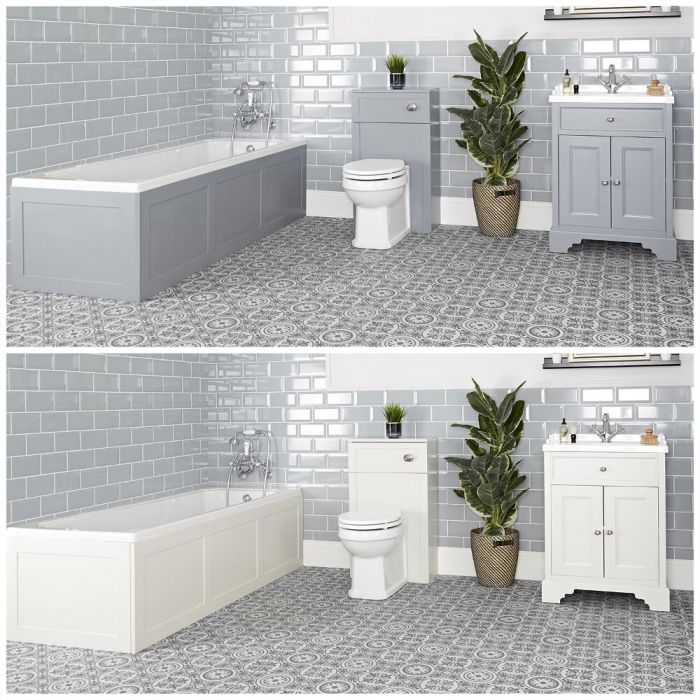 Set bagno Tradizionale con Vasca da Bagno, Mobile da 630mm con Lavabo e Sanitario WC - Thornton