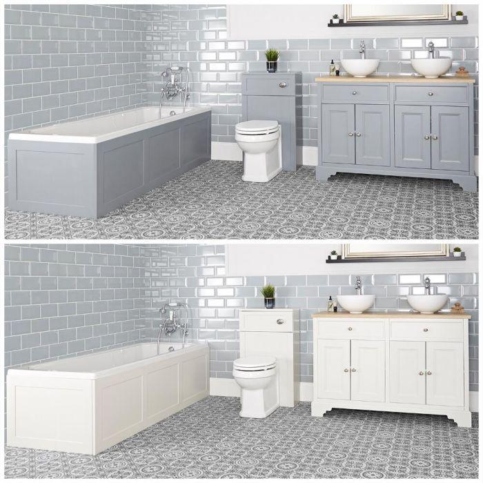 Set bagno Tradizionale con Vasca da Bagno, Mobile da 1200mm con Lavabo da Appoggio e Sanitario WC - Thornton
