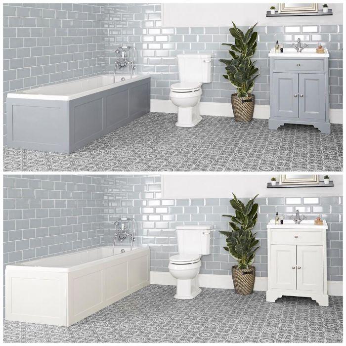 Set bagno Tradizionale con Vasca da Bagno, Mobile da 630mm e Sanitario WC a Scarico Orizzontale - Thornton