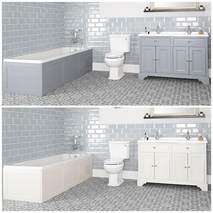Set bagno Tradizionale con Vasca da Bagno, Mobile da 1200mm e Sanitario WC a Scarico Orizzontale - Thornton