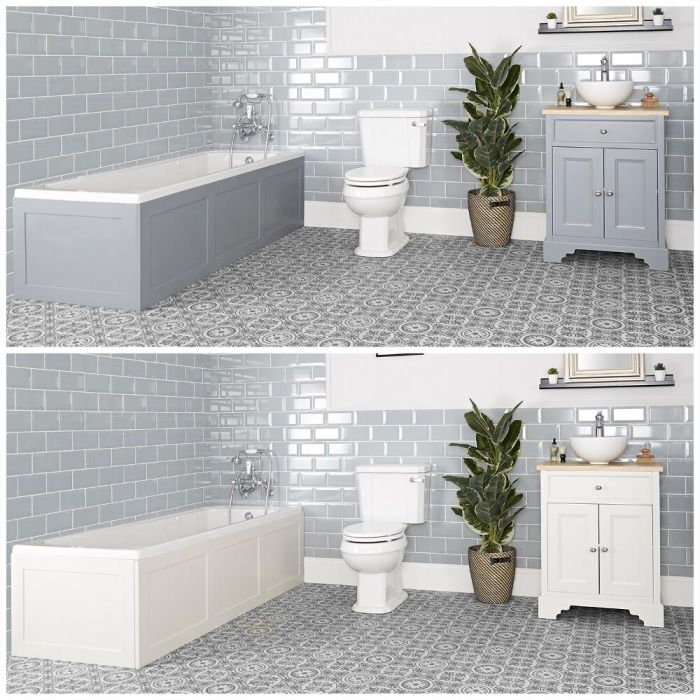 Set bagno Tradizionale con Vasca da Bagno, Mobile da 645mm con Lavabo da Appoggio e Sanitario WC a Scarico Orizzontale - Thornton